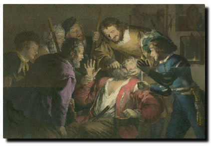 """""""Der Zahnbrecher von Gerard Honthorst"""" Lithograph by Franz Hanfstaegl after the painting by Gerard Honthorst"""
