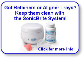 SonicBrite is a great cleaner for retainers, Invisalign-type aligner trays, mouthguards, and other dental appliances.